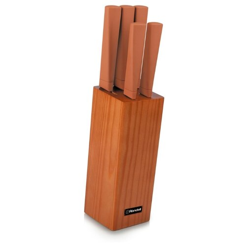 Набор Rondell Guarda 5 ножей с подставкой коричневый недорого