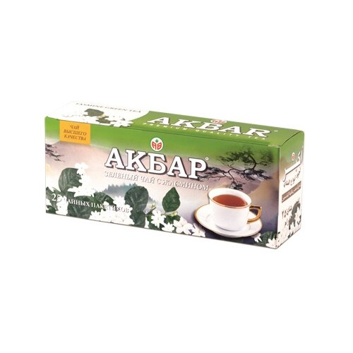 Чай зеленый Akbar с жасмином в пакетиках, 25 шт.