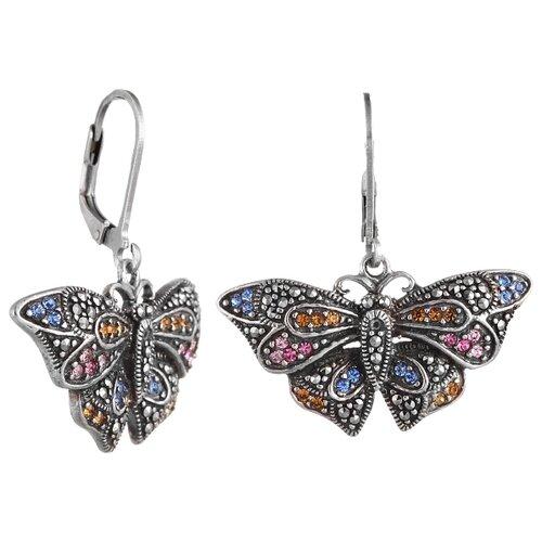 цена на JV Серьги Бабочки с марказитами, стеклом из серебра ERA0273-MZ-CRYST-001-WG