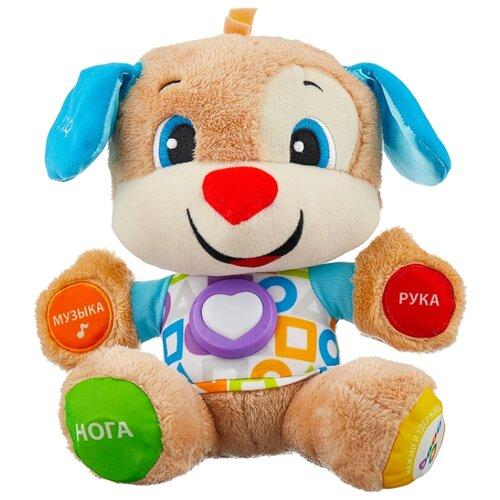Купить Интерактивная развивающая игрушка Fisher-Price Смейся и учись. Ученый Щенок с технологией Smart Stages (FPN77) бежевый/голубой, Развивающие игрушки