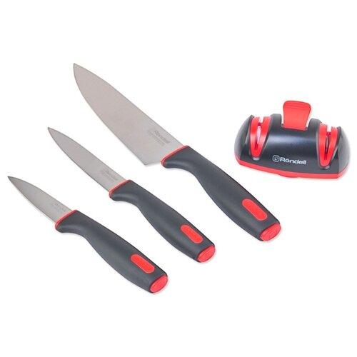 Набор Rondell Urban 3 ножа и ножеточка черный / красный