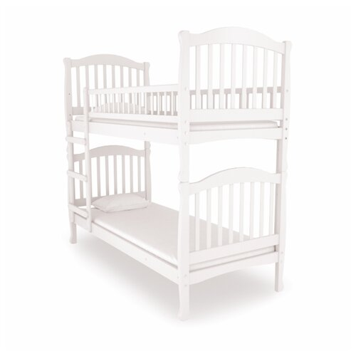 Двухъярусная кровать детская Nuovita Altezza Due, размер (ДхШ): 198х93 см, спальное место (ДхШ): 190х80 см, каркас: массив дерева, цвет: bianco