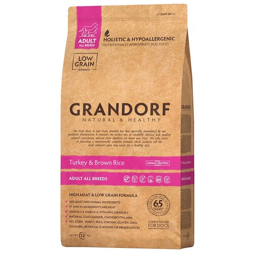 Сухой корм для собак Grandorf гипоаллергенный, при чувствительном пищеварении, индейка, с коричневым рисом 12 кг