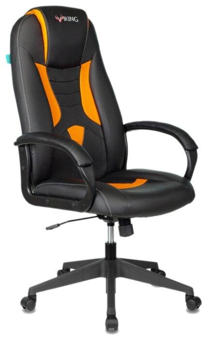 Купить Компьютерное кресло Бюрократ VIKING-8N игровое, обивка: искусственная кожа, цвет: черный/оранжевый по низкой цене с доставкой из Яндекс.Маркета (бывший Беру)