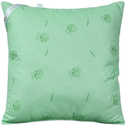 Подушка Selena Акварель Бамбуковое волокно 70 х 70 см зеленый