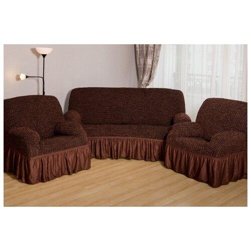 Чехлы с оборкой на диван и 2 кресла