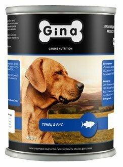 Корм для собак Gina Тунец и рис. Консервы для собак (0.4 кг) 1 шт.