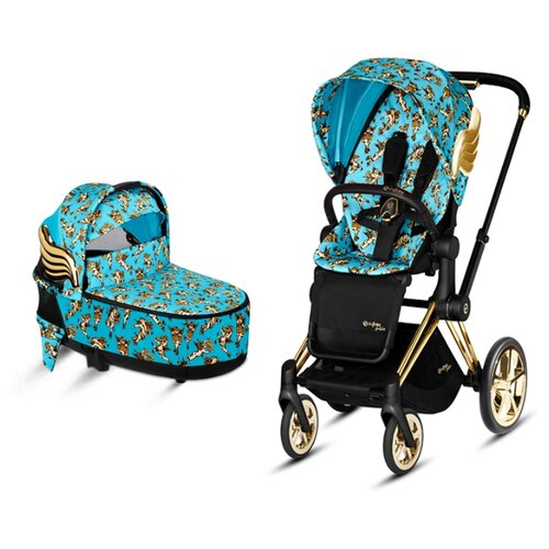 Купить Универсальная коляска Cybex Priam III Koi/Rebellious/Anna K/Birds of Paradise/JS (2 в 1) JS cherbubs blue/gold, цвет шасси: золотистый, Коляски