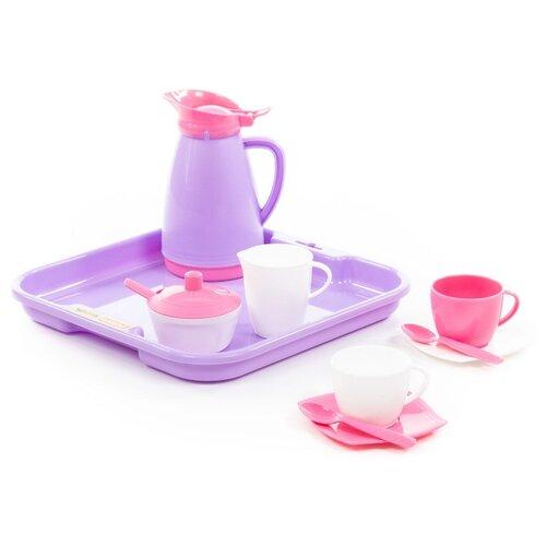 Набор посуды Полесье Алиса с подносом на 2 персоны 40589 белый/розовый/фиолетовый полесье набор игрушечной посуды алиса на 4 персоны 58980 цвет в ассортименте