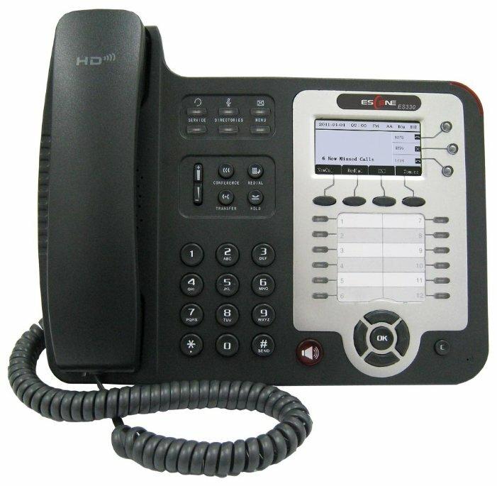 SIP-телефон Escene ES330-PEN 3 SIP аккаунта; 132x64 LCD-дисплей; 8 программируемых клавиш, 12 клавиш быстрого набора BLF, XML/LDAP; регулируемая подст