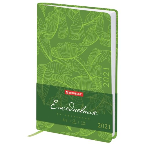 Купить Ежедневник BRAUBERG Foliage датированный на 2021 год, искусственная кожа, А5, 168 листов, зеленый, Ежедневники, записные книжки