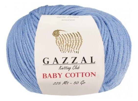 Купить Пряжа Gazzal Baby Cotton, цвет Голубой, 10 мотков по низкой цене с доставкой из Яндекс.Маркета (бывший Беру)