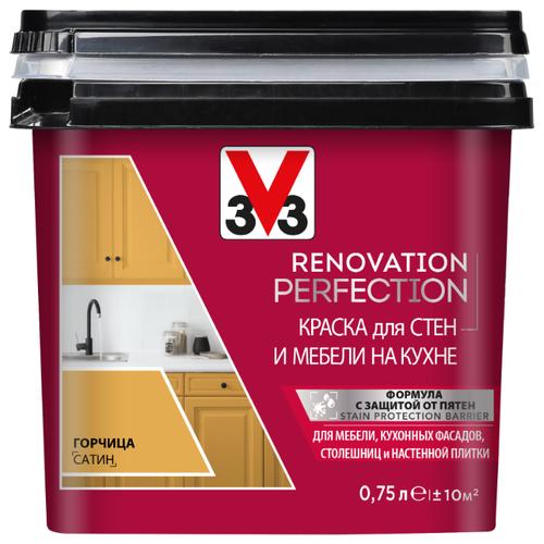 Краска акриловая V33 Renovation Perfection для стен и мебели на кухне влагостойкая моющаяся полуматовая горчица 0.75 л лак для мебели easy relook v33 полуматовая ангора 0 5л