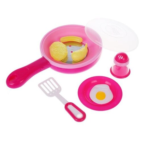 Купить Набор продуктов с посудой Наша игрушка Кухонные принадлежности 642298 розовый/белый, Игрушечная еда и посуда