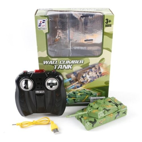Купить Танк р/у Наша Игрушка Стенолаз, 4 канала, ИК управление, свет, аккумулятор встроенный, USB шнур (139-7), Наша игрушка, Радиоуправляемые игрушки