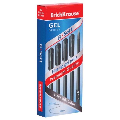 Купить ErichKrause набор гелевых ручек G-Soft 12 шт, 0.38 мм (39206/39432), черный цвет чернил, Ручки