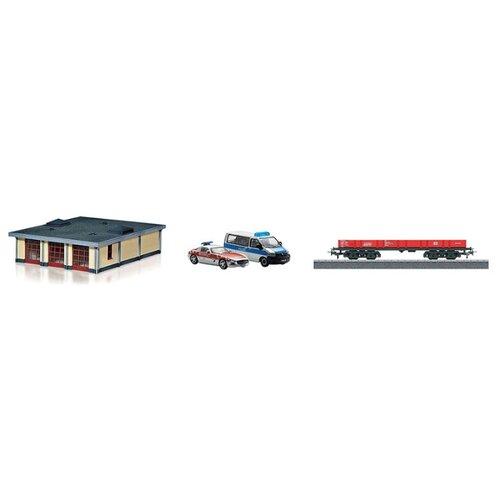 Купить Marklin Грузовая платформа с аксессуарами Пожарная часть , 78752, H0 (1:87), Наборы, локомотивы, вагоны