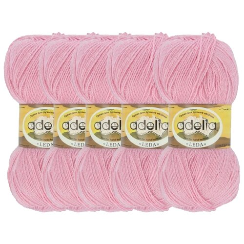 Купить Пряжа Adelia Leda, 99 % акрил, 1 % люрекс, 100 г, 340 м, 5 шт., 202 розовый