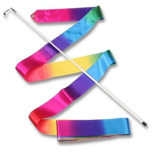 Палочка с лентой для художественной гимнастики Indigo АВ227-26 радуга