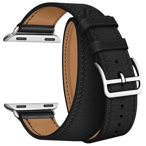 Lyambda Ремешок двойной кожаный Meridiana для Apple Watch 42/44 mm черный lyambda ремешок двойной кожаный meridiana для apple watch 38 40 mm черный