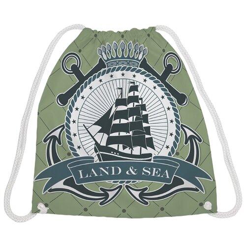 JoyArty Рюкзак-мешок Земля и море (bpa_12551) зеленый/белый/черный, Мешки для обуви и формы  - купить со скидкой