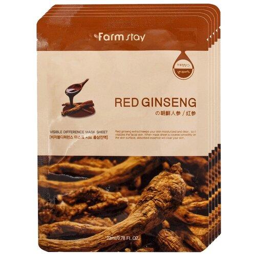Farmstay Тканевая маска Visible Difference Mask Sheet Red Ginseng с экстрактом корня красного женьшеня, 23 мл, 5 шт.