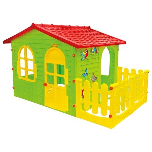 Купить Домик Mochtoys Садовый с забором 10498 салатовый/красный/желтый, Игровые домики и палатки