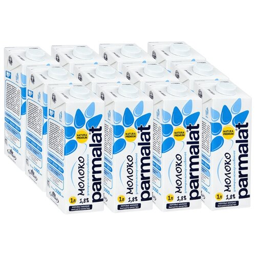 Молоко Parmalat ультрапастеризованное 12 шт 1.8%, 12 шт. по 1 л