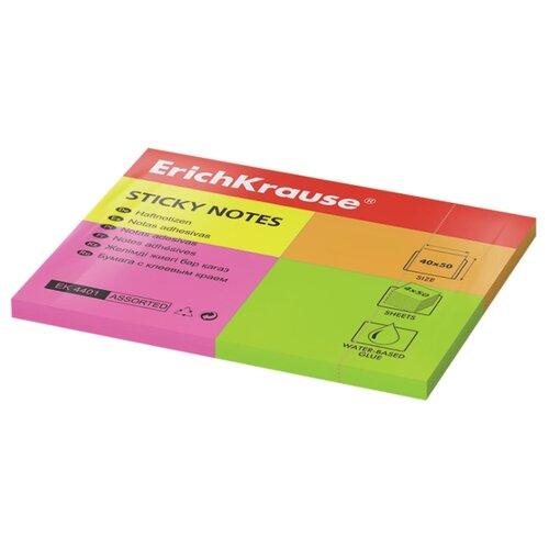 Купить ErichKrause бумага для заметок Neon, 40х50 мм, 200 штук (4401) разноцветный, Бумага для заметок