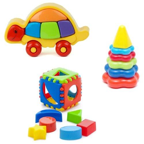 Купить Набор развивающий Логическая черепашка (15-5877) + Игрушка Кубик логический малый (40-0011) + Пирамида детская малая (40-0046), Karolina toys, Сортеры