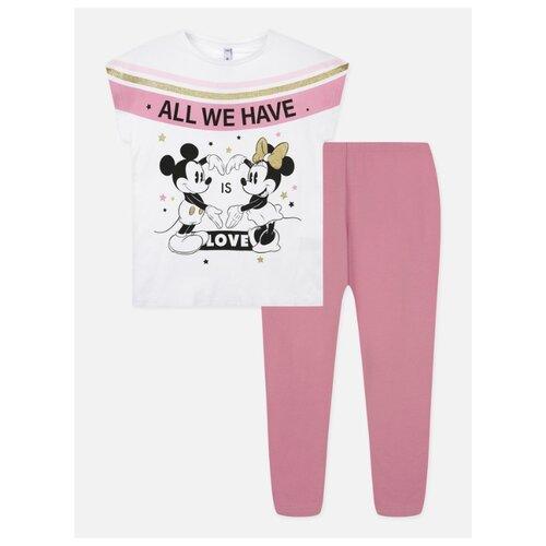 Комплект одежды playToday размер 128, белый/розовый комплект одежды looklie размер 128 134 розовый