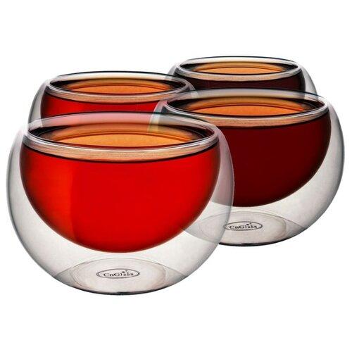 набор кофейный cnglass чайная пара канопус 110 мл 4 шт комплект tz07002 стекло CnGlass Пиалы с двойными стенками 150 мл 4 шт прозрачный