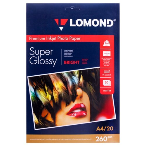 Бумага Lomond A4 Premium Photo Paper 1103101 260 г/м² 20 лист. ярко-белый 1 шт.
