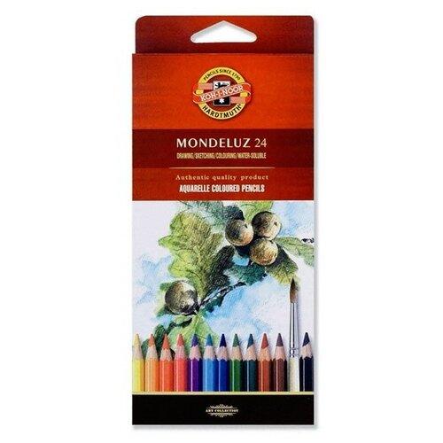 Купить Карандаши цветные KOH-I-NOOR Mondeluz 24 цвета акварельные, картонная упаковка, Цветные карандаши