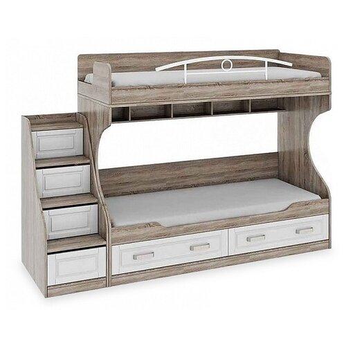 Двухъярусная кровать детская ТриЯ Прованс СМ-223.11.001, размер (ДхШ): 252.6х86.2 см, спальное место (ДхШ): 200х80 см, каркас: ЛДСП, цвет: Дуб Сонома трюфель/Крем