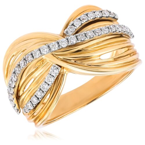 Бронницкий Ювелир Кольцо из желтого золота юпR-2063HT, размер 17