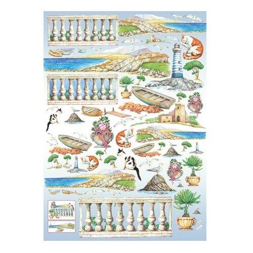 Купить Карта для декупажа На побережье 50 х 70 см 1 лист, Stamperia, Карты, салфетки, бумага
