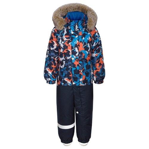Комбинезон KISU W19-10601 размер 86, 3011 оранжевый/синий брюки утепленные kisu kisu mp002xc006zn