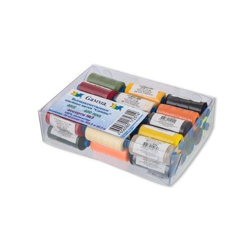 Купить Gamma Набор швейных нитей №03 40/2 400 ярдов, 03 ассорти 365 м х 30 шт., Нитки
