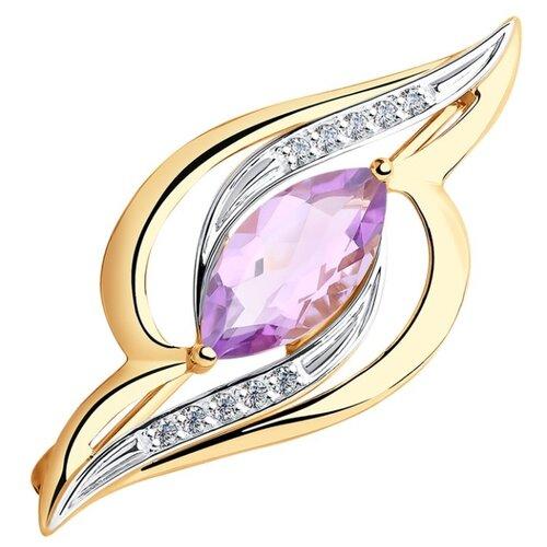 Diamant Брошь из золота с аметистом и фианитами 51-340-00345-4 брошь из золота с аметистом и фианитами