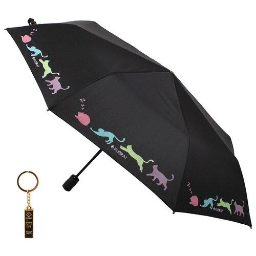 Зонт автомат FLIORAJ Premium Золотой брелок Кошки черный зонт автомат flioraj premium золотой брелок кошки черный