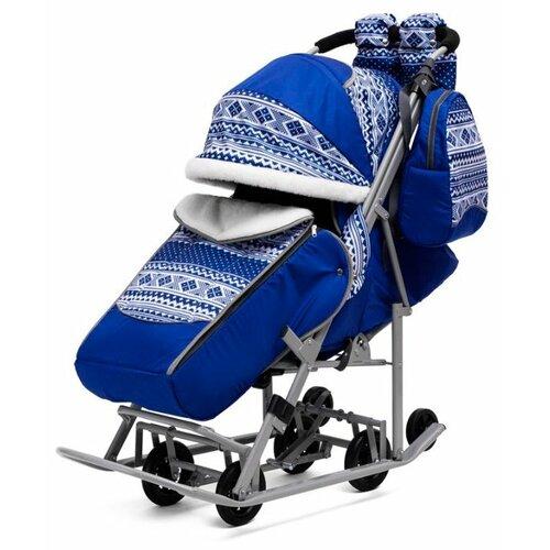 Санки-коляска ABC academy Скандинавия 5В Люкс + ВК 1617 (70297) синий/серый санки коляска kristy comfort plus 3в вк голубой зоопарк