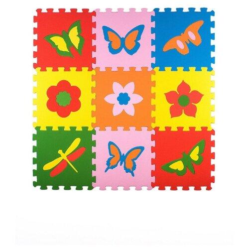 Купить Развивающий коврик пазл Бабочки 33*33 см, 9 деталей, ЭкоПолимеры, Игровые коврики