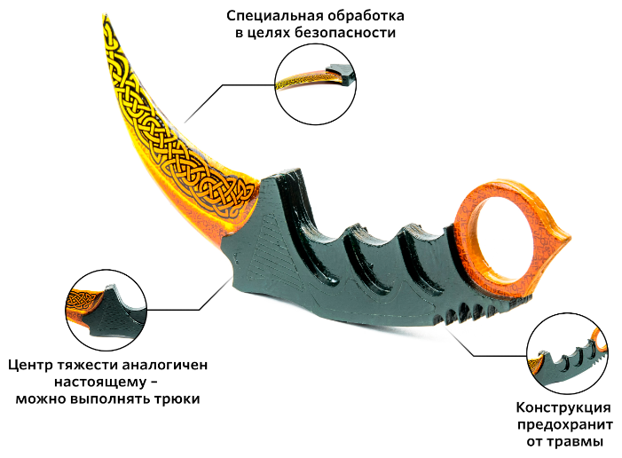 Нож-керамбит Maskbro Легенды из Counter-Strike деревянный (13-122)