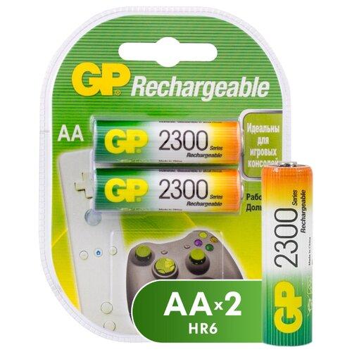 Фото - Аккумулятор Ni-Mh 2300 мА·ч GP Rechargeable 2300 Series AA 2 шт блистер аккумулятор ni mh 1000 ма·ч gp rechargeable 1000 series aaa usb светильник 4 шт блистер