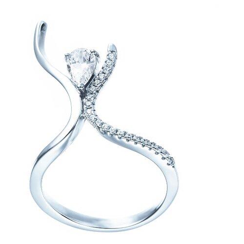 ELEMENT47 Кольцо из серебра 925 пробы с кубическим цирконием ML01881A_KO_001_WG, размер 18