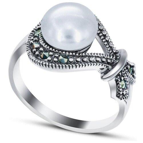 Silver WINGS Кольцо с жемчугом и марказитами из серебра 210005a-39, размер 17 silver wings кольцо с марказитами и бирюзой из серебра 210011 39 203 размер 17