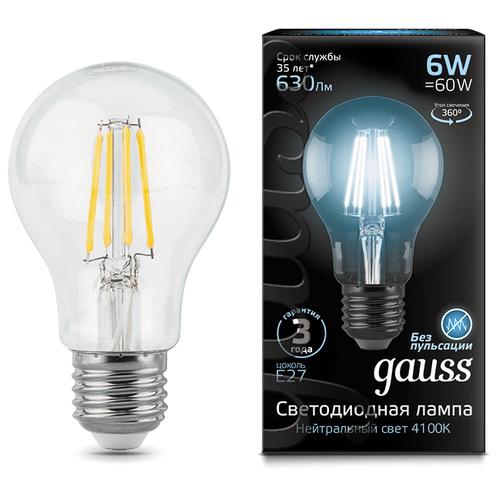 Лампа светодиодная gauss 102802206, E27, A60, 6Вт лампа светодиодная gauss 23219 e27 a60 20вт