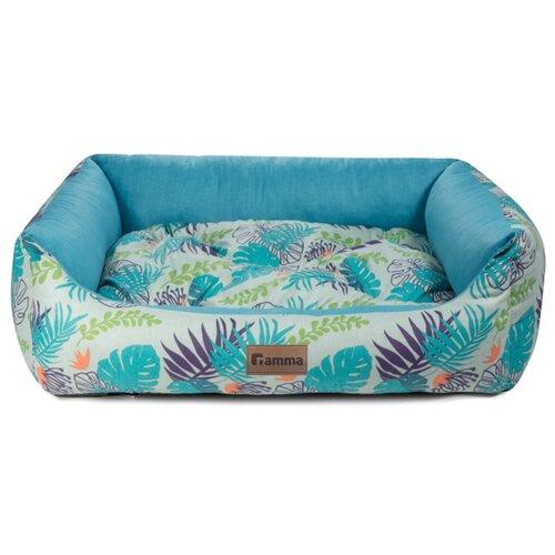 Лежак для собак и кошек Гамма Тропики прямоугольная мини 42х40х15 см голубой
