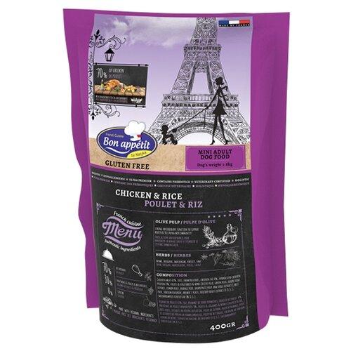 Сухой корм для собак Bon Appetit гипоаллергенный, курица, с рисом 400г (для мелких пород)